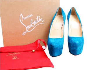 Christian Louboutin Blue Suede Red Soles Blue Peacock Platforms