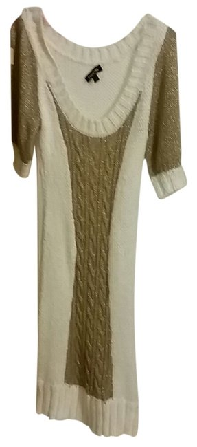 Item - Gold White Long Night Out Dress Size 8 (M)