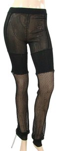 Helmut Lang Knit Cotton Fishnet Skinny Pants Black