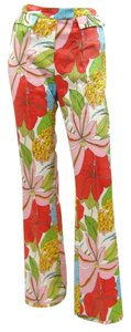John Galliano Floral Wide Wool Print Wide Leg Pants Multi