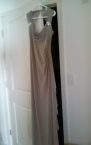 R & M Richards Taupe Polyester and Spandex Formal Bridesmaid/Mob Dress Size 6 (S)