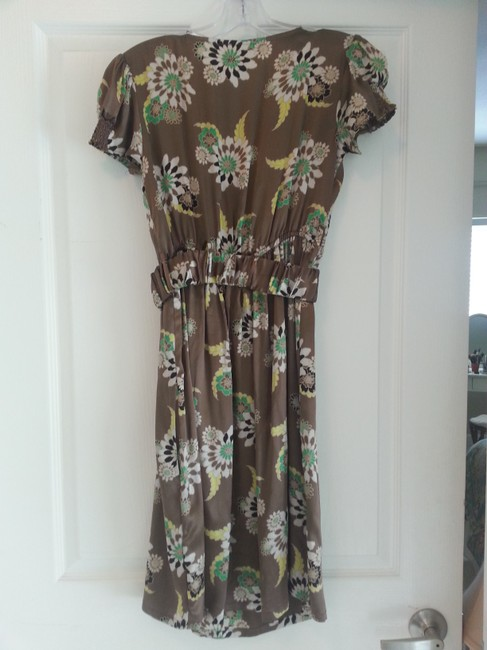 Hype short dress Brown/green multi Floral Silk Empire Waist on Tradesy