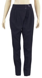 Michael Kors Drape Draped Pleated Skinny Skinny Pants Black