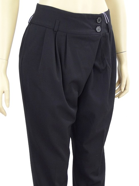 Michael Kors Drape Draped Pleated Skinny Pants Black