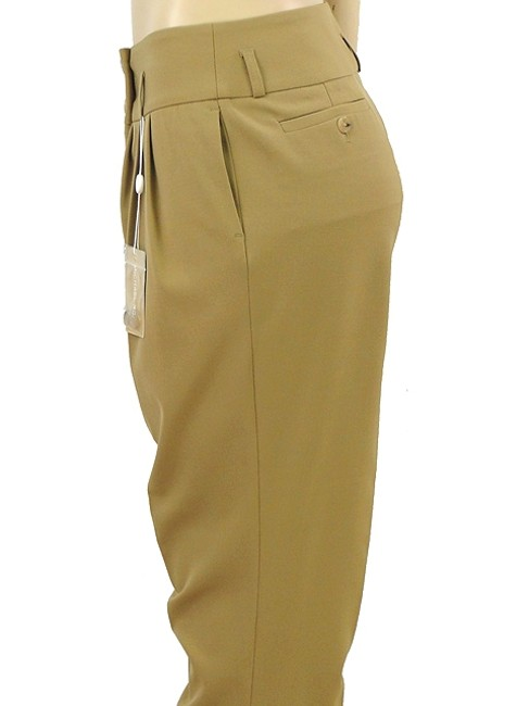Michael Kors Pleated Wool Skinny Straight Pants Beige