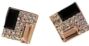 New Black Silver Gold Crystals Square Stud Earrings J1873