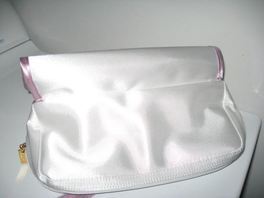 Dior DIOR White Sateen Makeup Vanity Bag/ Zippered Compartments