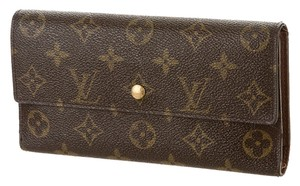 Louis Vuitton Brown, tan LV monogram leather Louis Vuitton Sarah wallet