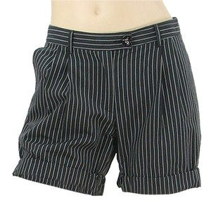 Moschino Pinstripe Striped Pleated Mini/Short Shorts Black, White