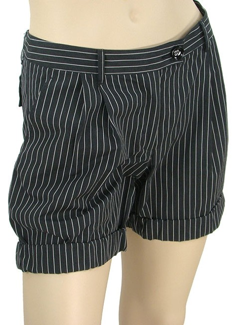Moschino Pinstripe Striped Pleated Mini/Short Shorts Black, White Image 1