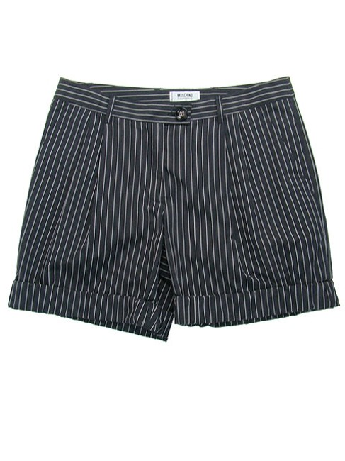 Moschino Pinstripe Striped Pleated Mini/Short Shorts Black, White Image 4