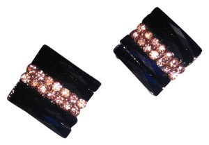 New Black Pink Square Stud Earring Crystals J1874