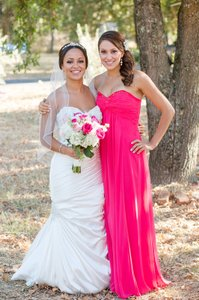 David's Bridal Punch Long Sheer Chiffon Dress With Beaded Neckline Dress
