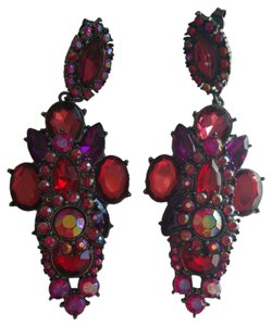 Red and pink crystal chandelier earrings
