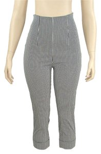 Moschino Houndstooth Checkered Capri/Cropped Pants Black, White, Gray