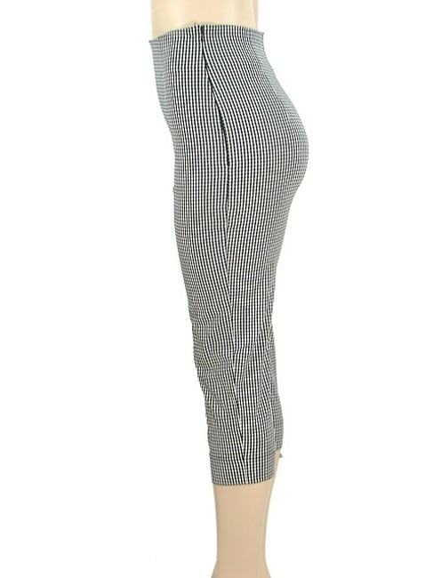 Moschino Houndstooth Checkered Capri/Cropped Pants Black, White, Gray Image 2