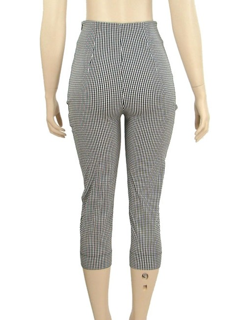 Moschino Houndstooth Checkered Capri/Cropped Pants Black, White, Gray Image 3