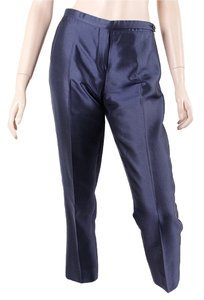 Prada Metallic Cropped Linen Silk Capri/Cropped Pants Blue