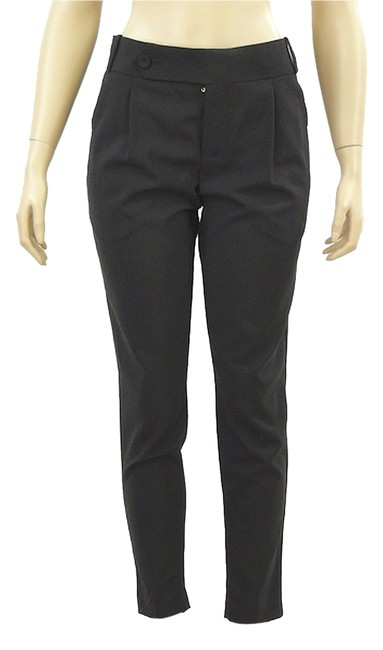Rachel Roy Linen Crop Top Wool Skinny Capri/Cropped Pants Black