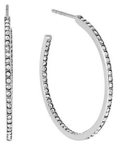 Michael Kors Michael Kors MKJ4404 040 Women's Silver Tone Pave Crystal Open Hoop Earrings NEW! $115