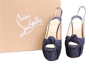 Christian Louboutin Red Soles Miss Benin Demin Blue Denim Platforms