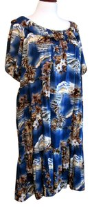 Blue Maxi Dress by Hilo Hattie Hawaiian Tropical Beach Midi Summer Plus Size 5x