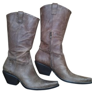 BCBGeneration Distressed Leather Tan/Mocha Boots