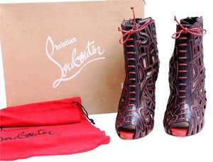 Christian Louboutin Leather Ankle Pumps Stitch Black/Red Boots