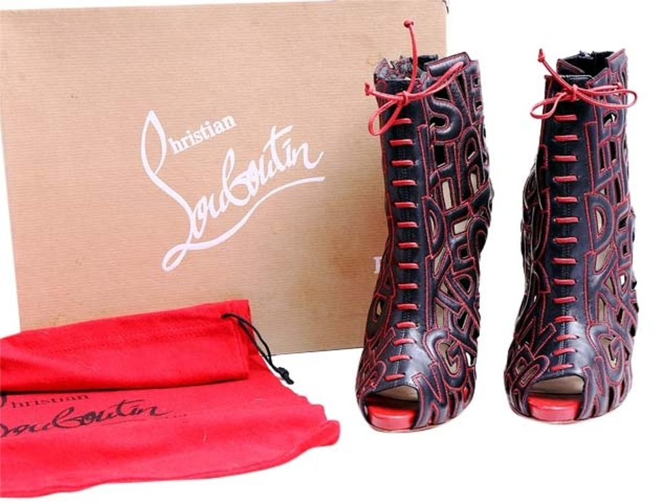 Christian Louboutin Black/Red * Leather Let Me Me Me Tell You 120 Ankle Boots/Booties 1aca6c