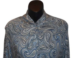 Michael Kors Paisley Turtleneck Mock Turtleneck Top BLUE