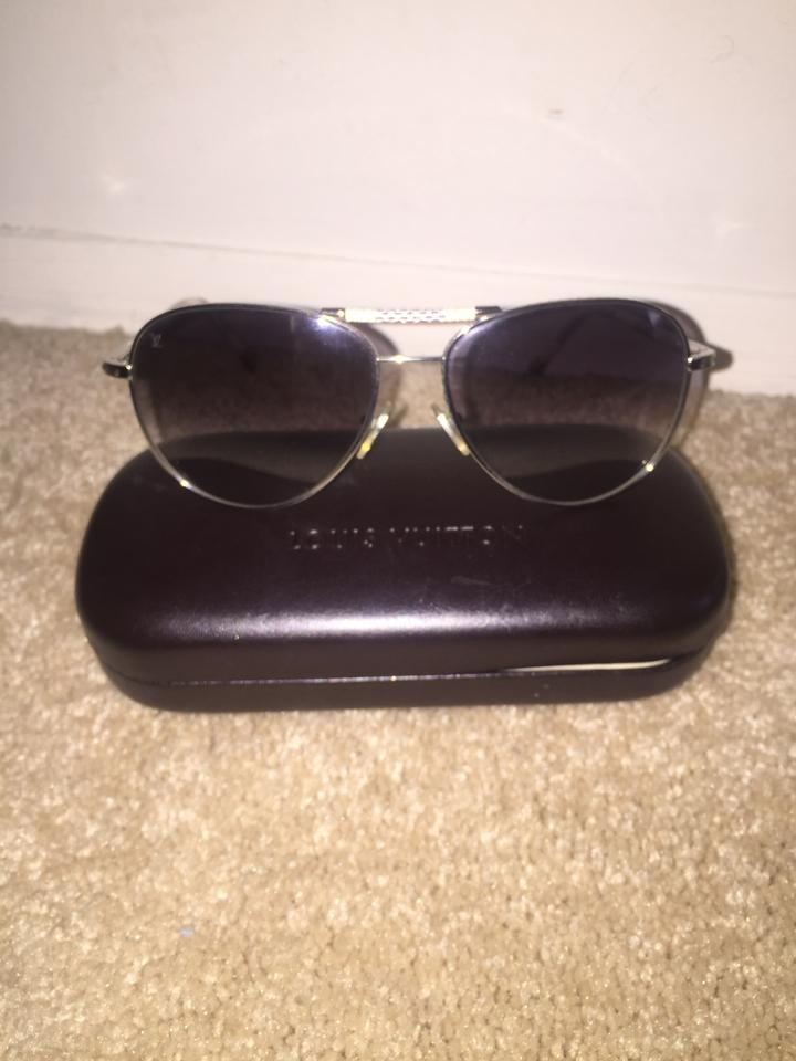 47db179af8f8 Louis Vuitton Damier Azur and Silver Conspiration Pilote Sunglasses ...