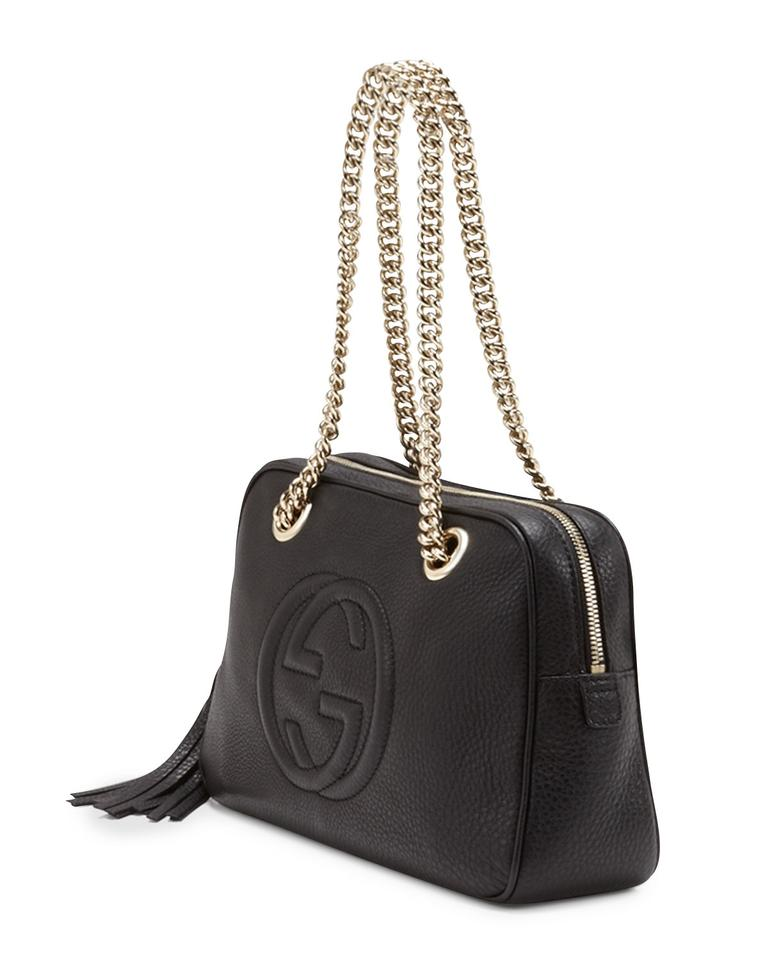 8a2718559ca2 Gucci Soho Double Chain Strap Black Leather Shoulder Bag - Tradesy