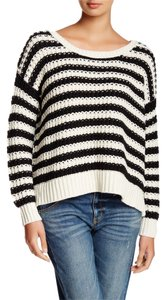 Free People At The Beach Chunky Knit Scoop Neck Oversize Oversized Loose Casual Striped Ivory Sweater