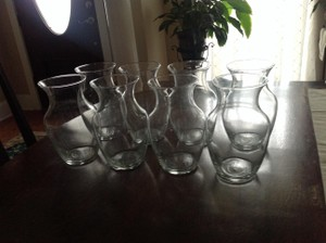 Lot Of 8 Clear Glass Vases