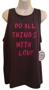 Rachel Roy Top Dark Grey with Pink lettering
