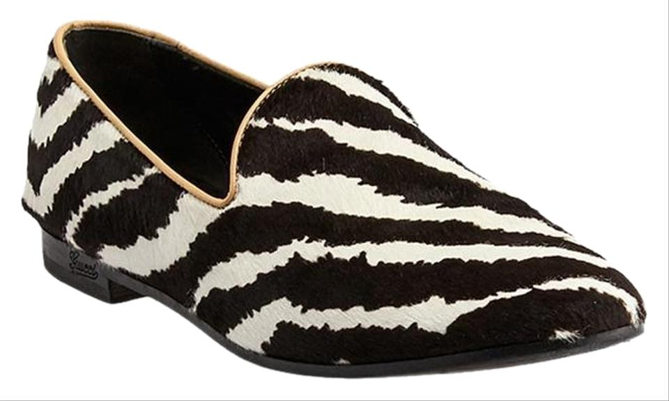 69920407d9e Gucci Black White Animal Print Pony Hair Loafers 38.5 970569) Flats ...