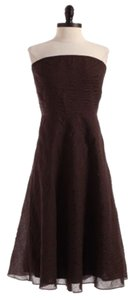 J.Crew short dress Brown Seersucker Cotton Clothing Womens Strapless on Tradesy