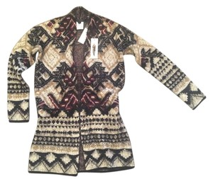 BCBGMAXAZRIA Bcbg Bcbg Max Azria Aztec Print Embellished Aztec Print Long Open Front Sweater Duster Sweatercoat Cardigan
