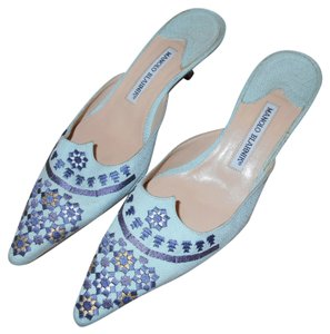 Manolo Blahnik Embroidered light blue Mules