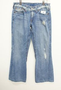 True Religion Joey Light Wash Distressed Style 04503 Flare Leg Jeans