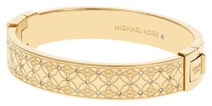 Michael Kors Michael Kors MKJ4471 Etched Logo Gold Crystal Accents Bangle Bracelet