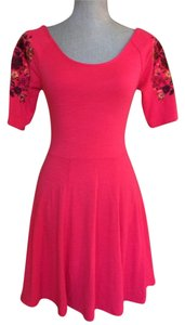 Free People short dress Red Pink Bodycon Embroidered Stretch Size Xs on Tradesy