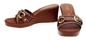 Coach Leather Gold Buckles Brown Wedges