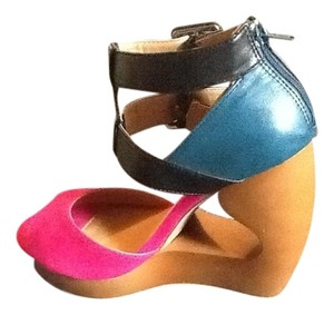 Charlotte Russe Pink,dark teal and black Sandals