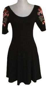 Free People short dress Black Bodycon Stretchy Embroidered Size Xs on Tradesy