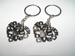 2pc Lovers Love You Rhinestone Accented Key Chains Key Rings Free Shipping