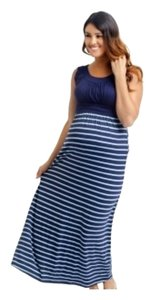 PinkBlush PinkBlush Maternity Navy & Mint Striped Bottom Maxi Dress Large