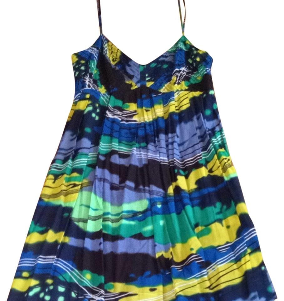 a953dcbd92da Calvin Klein Blue Green   Yellow Black Strappy Sundress Party Special Event Short  Casual Dress. Size  14 (L) Length  Above Knee ...