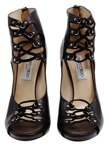 Jimmy Choo Leather Pumps Peep Toe Black Platforms