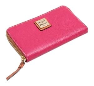 Dooney & Bourke * Dooney & Bourke Raspberry Pebble Grain Zip Around Phone Wallet